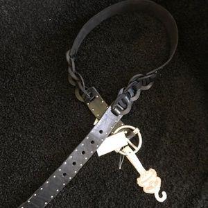 LUCKY BRAND Rocker Leather Detail Studded Belt